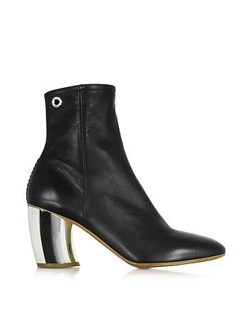 Black Leather w/Mirror High Heel Boot