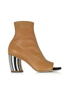 Light Brown Stretch Leather Open Toe Boots w/Mirror Heel - Proenza Schouler