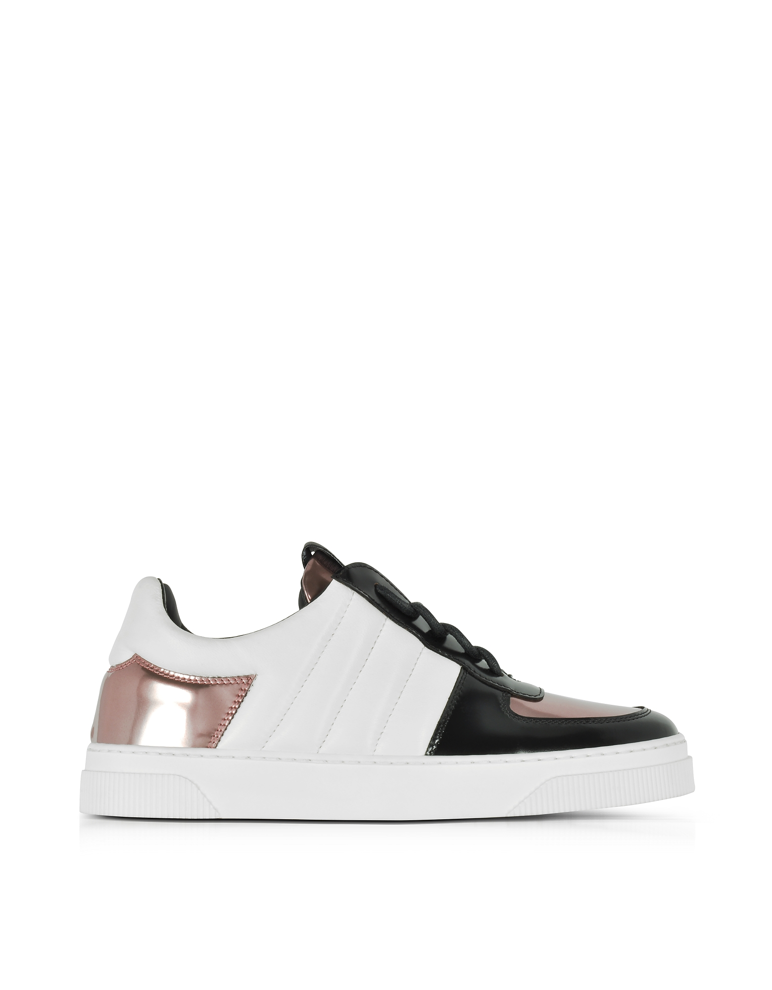 Proenza Schouler Shoes, Black, White and Rose Gold Laminated Leather Sneakers
