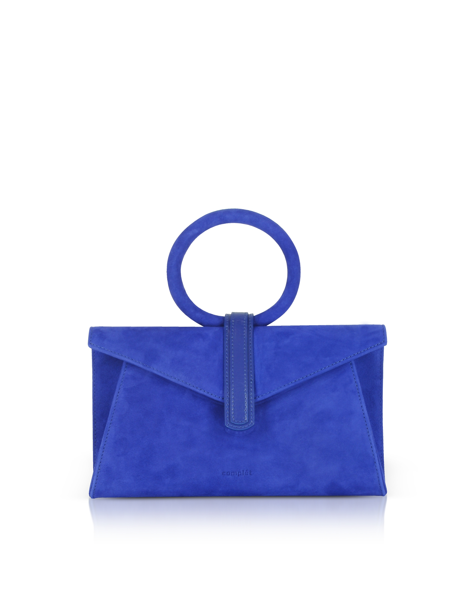 Complet Handbags, Royal Blue Suede Valery Mini Clutch Bag w/Shoulder Strap