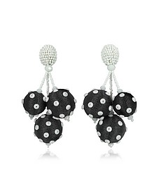 Polka Dot Sequin Triple Ball Clip-On Earrings - Oscar de la Renta