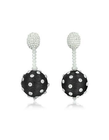 Oscar de la Renta - Polka Dot Sequin Single Ball Clip-On Earrings