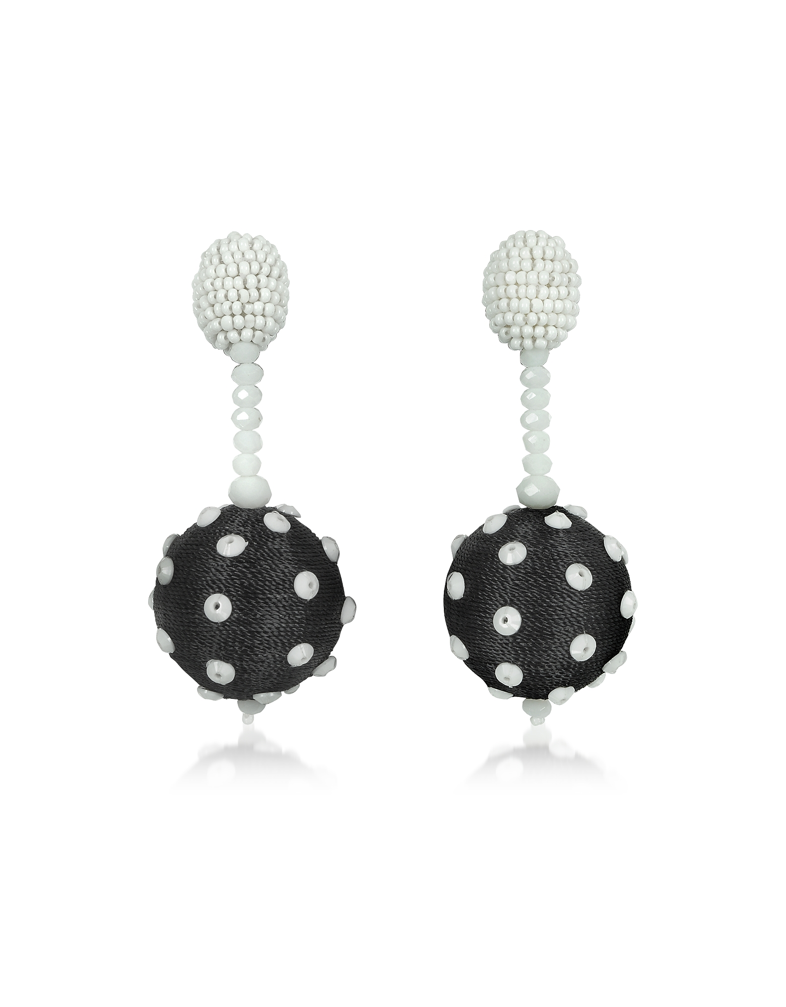 Oscar de la Renta Earrings, Polka Dot Sequin Single Ball Clip-On Earrings