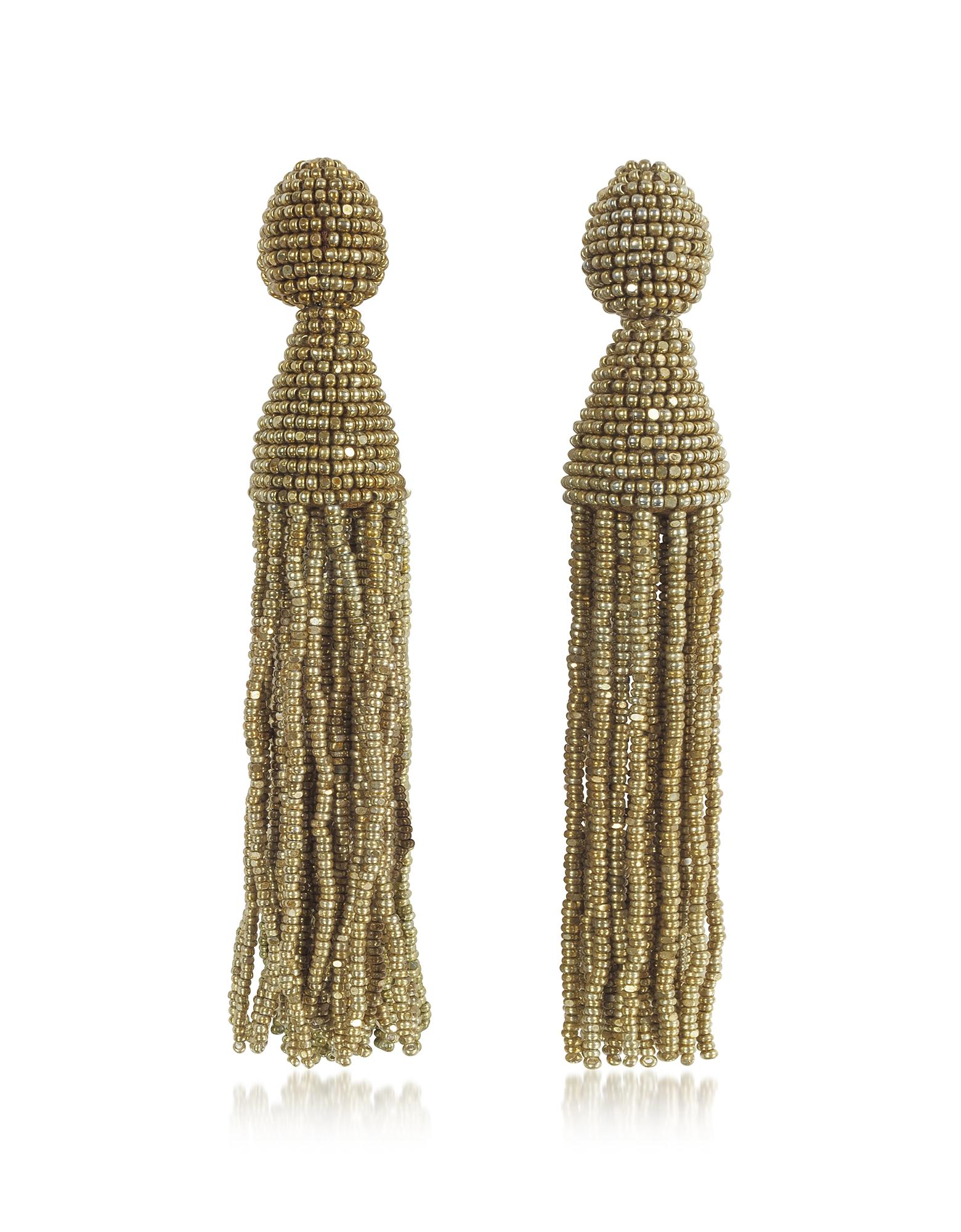 Oscar de la Renta Earrings, Classic Long Tassel Clip-On Earrings