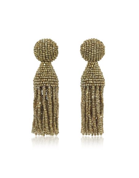 Oscar de la Renta Boucles d'Oreilles Pendantes à Clip avec Perles Dorées