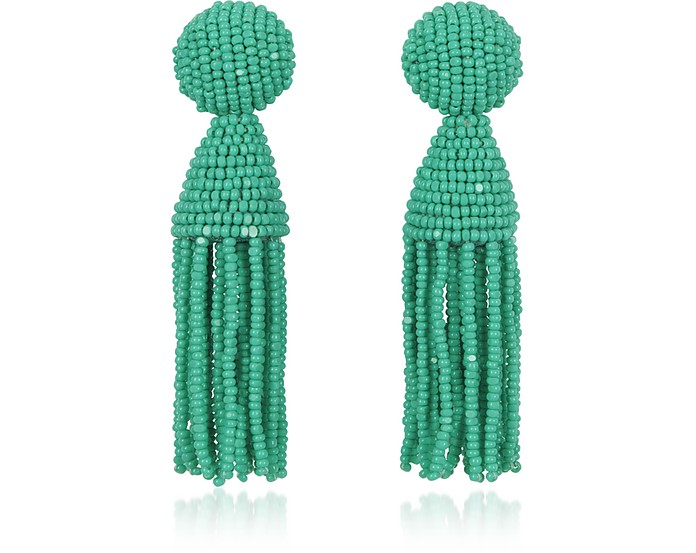 Short Beaded Clip-On Tassel Earrings - Oscar de la Renta