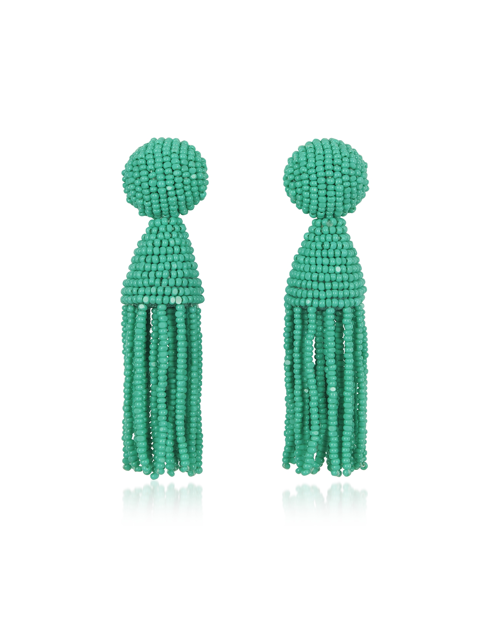 Short Beaded Clip-On Tassel Earrings