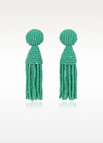 Short Beaded Clip-On Tassel Earrings - Oscar de la Renta