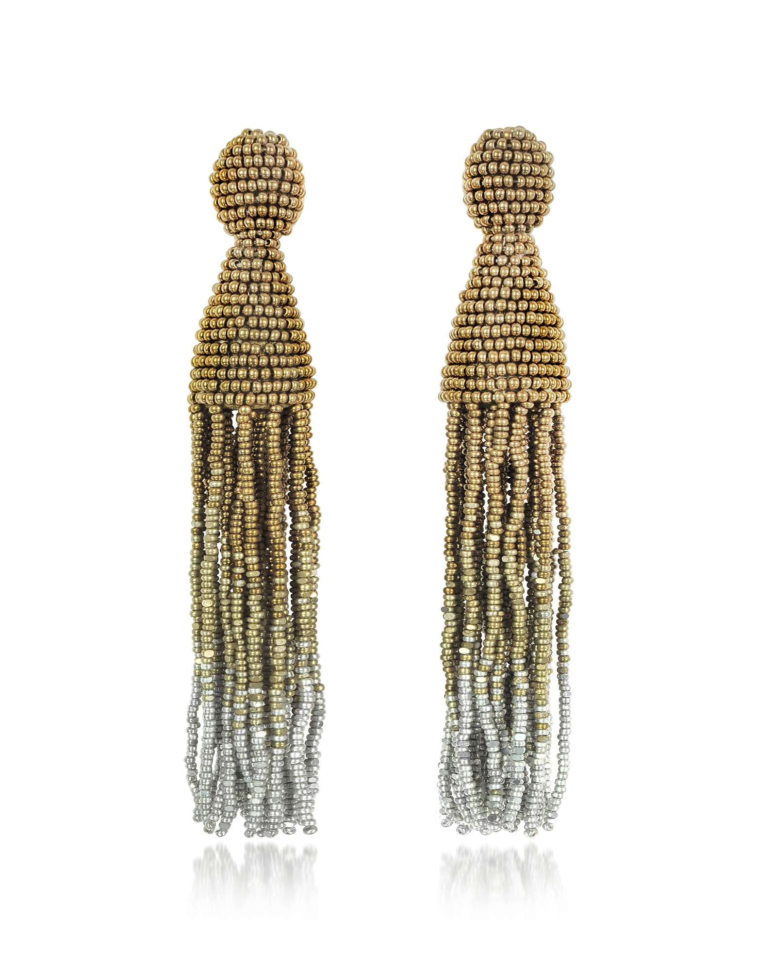 Oscar de la Renta Earrings, Long Ombre Tassel Clip-On Earrings
