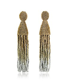 Long Ombre Tassel Clip-On Earrings - Oscar de la Renta