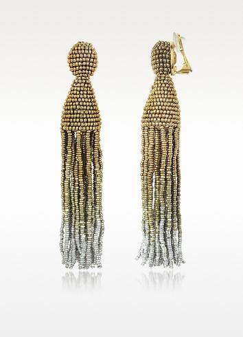 OSCAR DE LA RENTA Gold Ombré Beaded Long Tassel Earrings