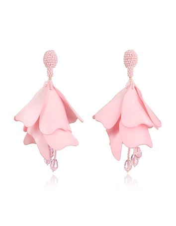 Oscar de la Renta - Large Impatience Flower Drop Clip-On Earrings