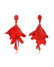 Large Impatience Flower Drop Clip-On Earrings - Oscar de la Renta