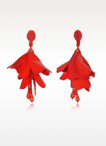 Large Impatience Flower Drop Clip-On Earrings - Oscar de la Renta