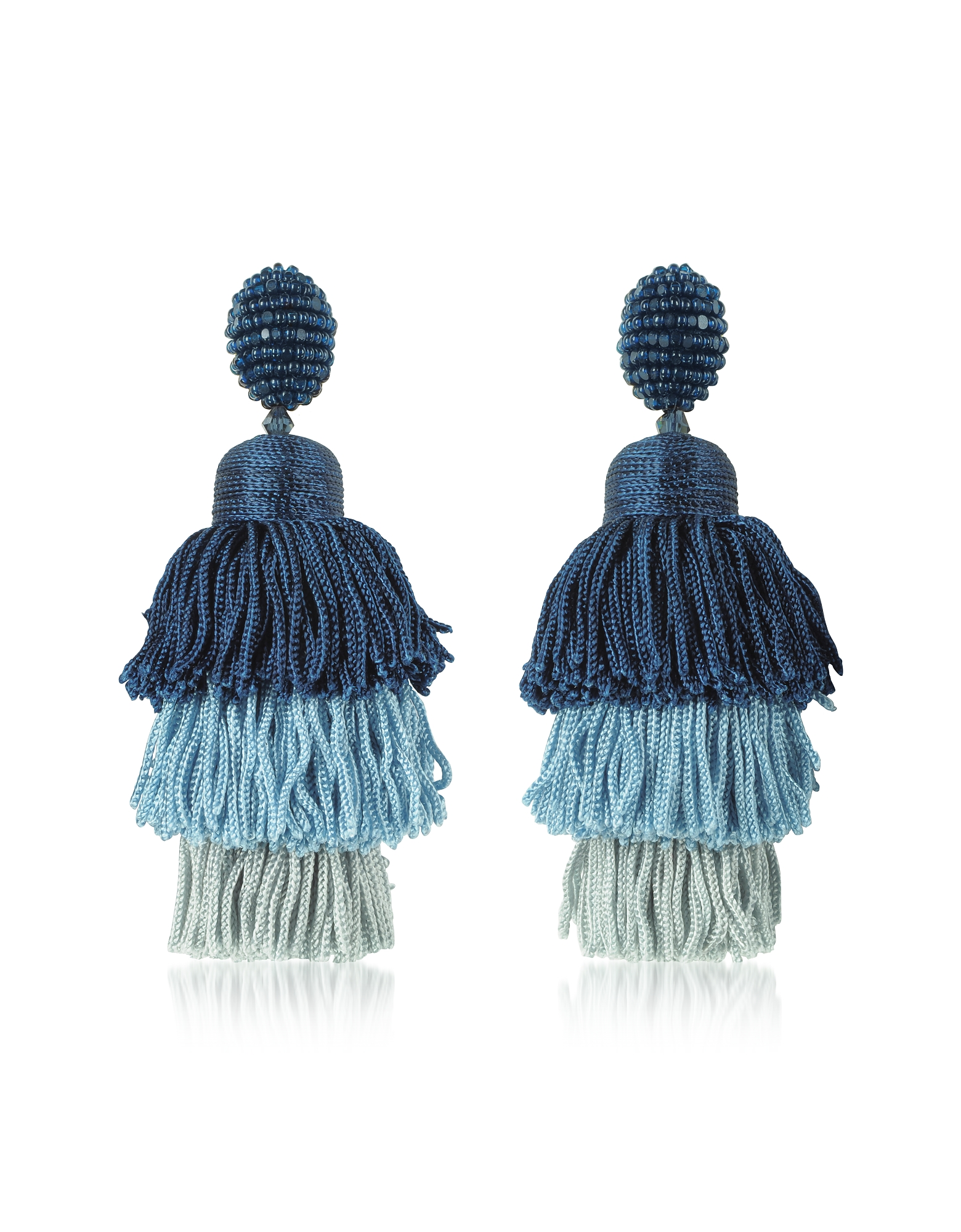 Oscar de la Renta Earrings, Long Silk Tiered Tassel Earrings
