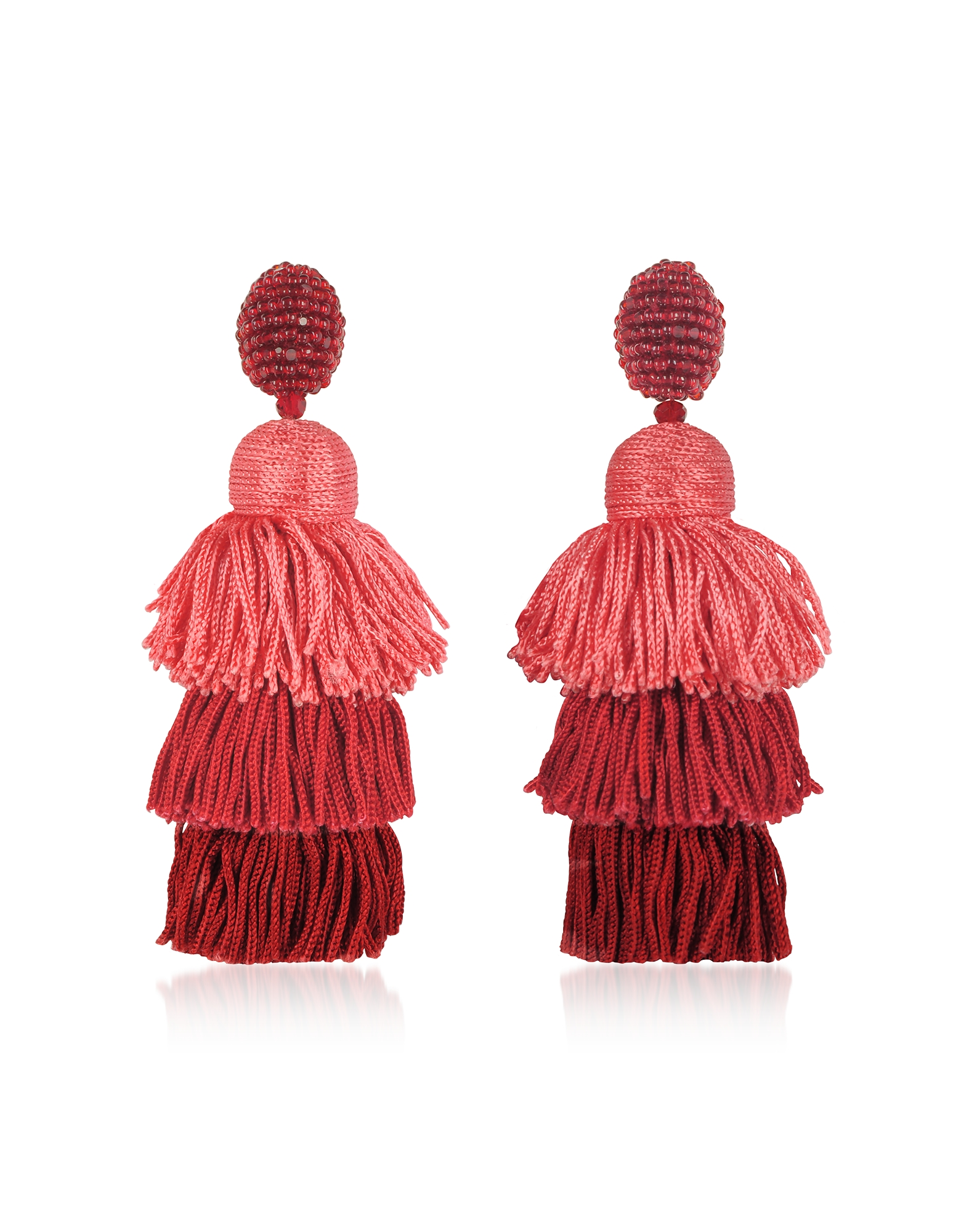 Oscar de la Renta Earrings, Long Silk Tiered Tassel Earrings