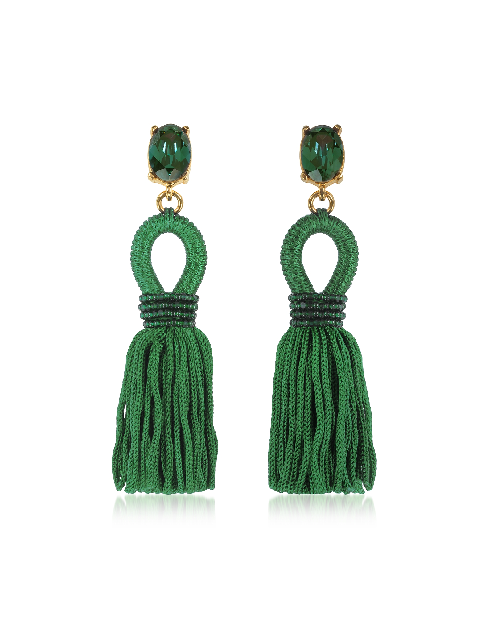 Oscar de la Renta Earrings, Short Silk Tassel Earrings