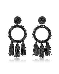 Large Beaded Circle With Tassel Earrings - Oscar de la Renta