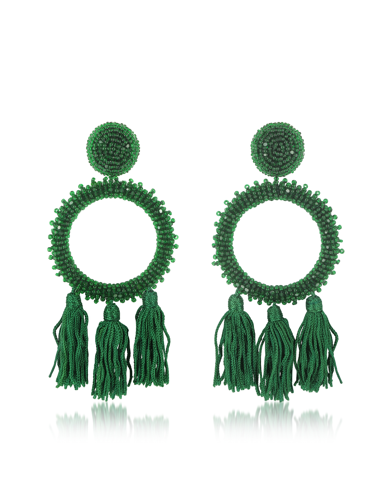 Oscar de la Renta Earrings, Large Beaded Circle With Tassel Earrings