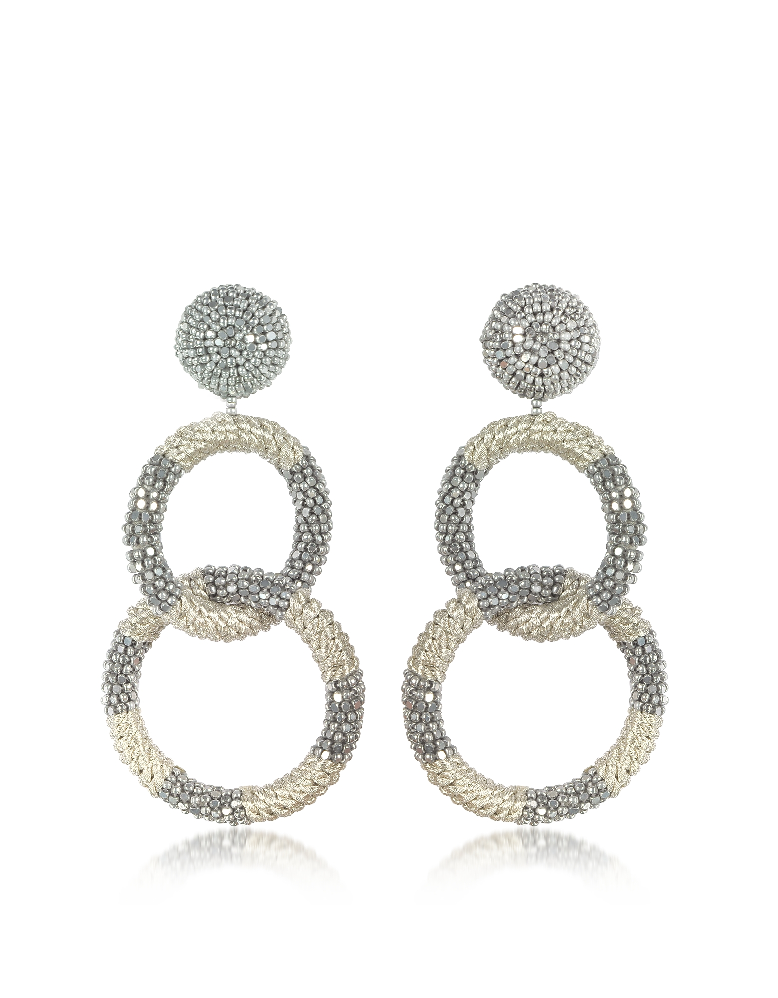 Oscar de la Renta Earrings, Silver 2 Hoop Earrings