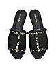 Scarlette Black Tonal Satin w/Crystals Slide Sandals - Oscar de la Renta