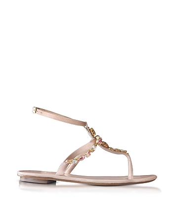 Louise Nude Satin w/Crystals Flat Sandals