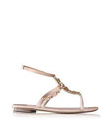 Louise Nude Satin w/Crystals Flat Sandals - Oscar de la Renta