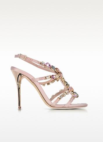 Imogene Nude Satin w/Crystals High Heel Sandals - Oscar de la Renta
