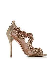 Ambria Bronze Metallic Nappa w/Embroidery Mesh High Heel Sandals - Oscar de la Renta