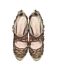 Ambria Bronze Metallic Nappa w/Embroidery Mesh High Heel Sandals - Oscar de la Renta