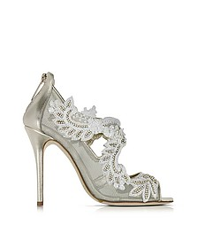 Ambria Light Gold Metallic Nappa w/Embroidery Mesh High Heel Sandals - Oscar de la Renta
