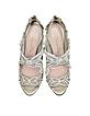 Ambria Light Gold Metallic Nappa w/Embroidery Mesh High Heel Sandals - Oscar de la Renta