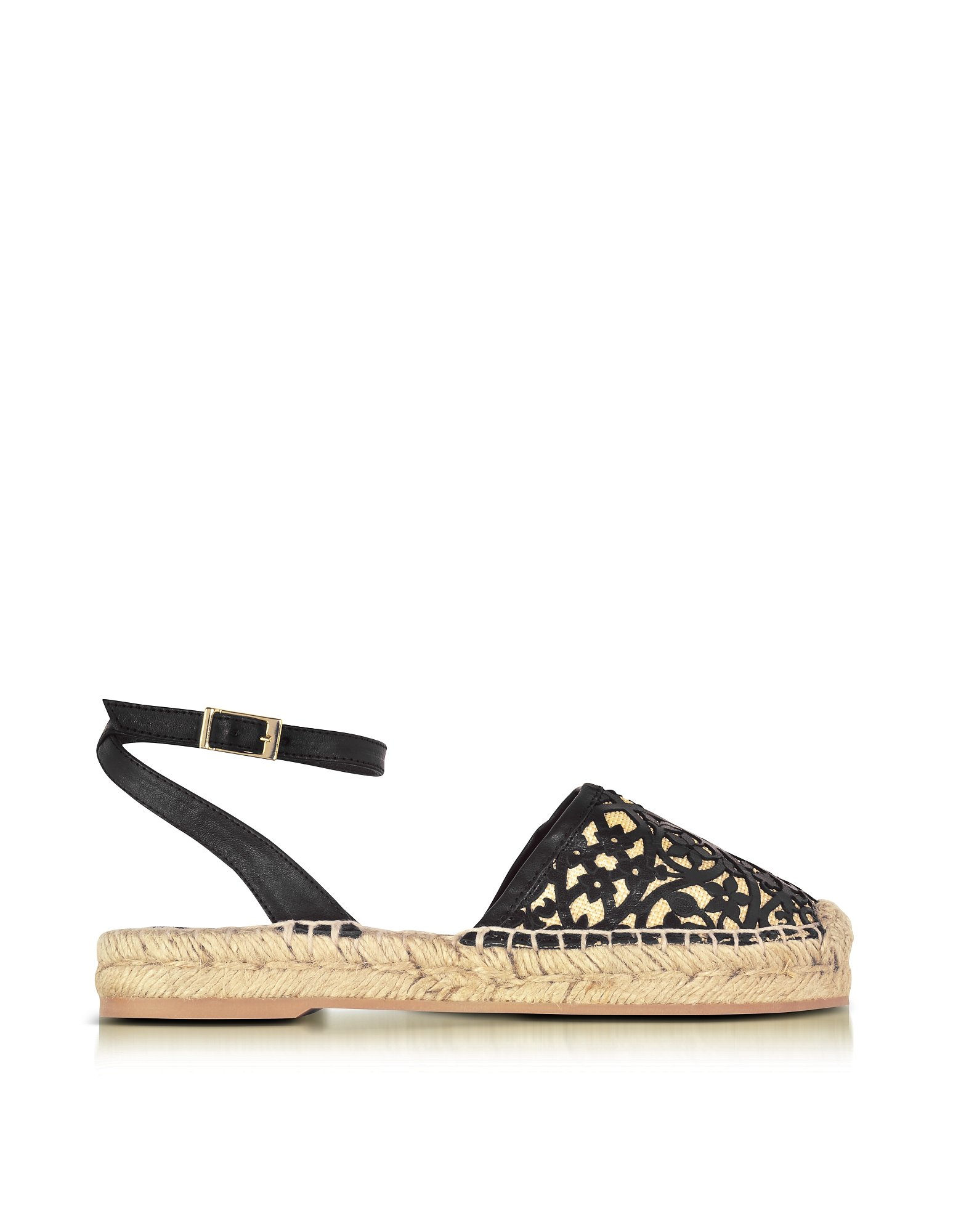 Oscar de la Renta Shoes, Tina Black & Beige Lasercut Leather and Raffia Espadrilles