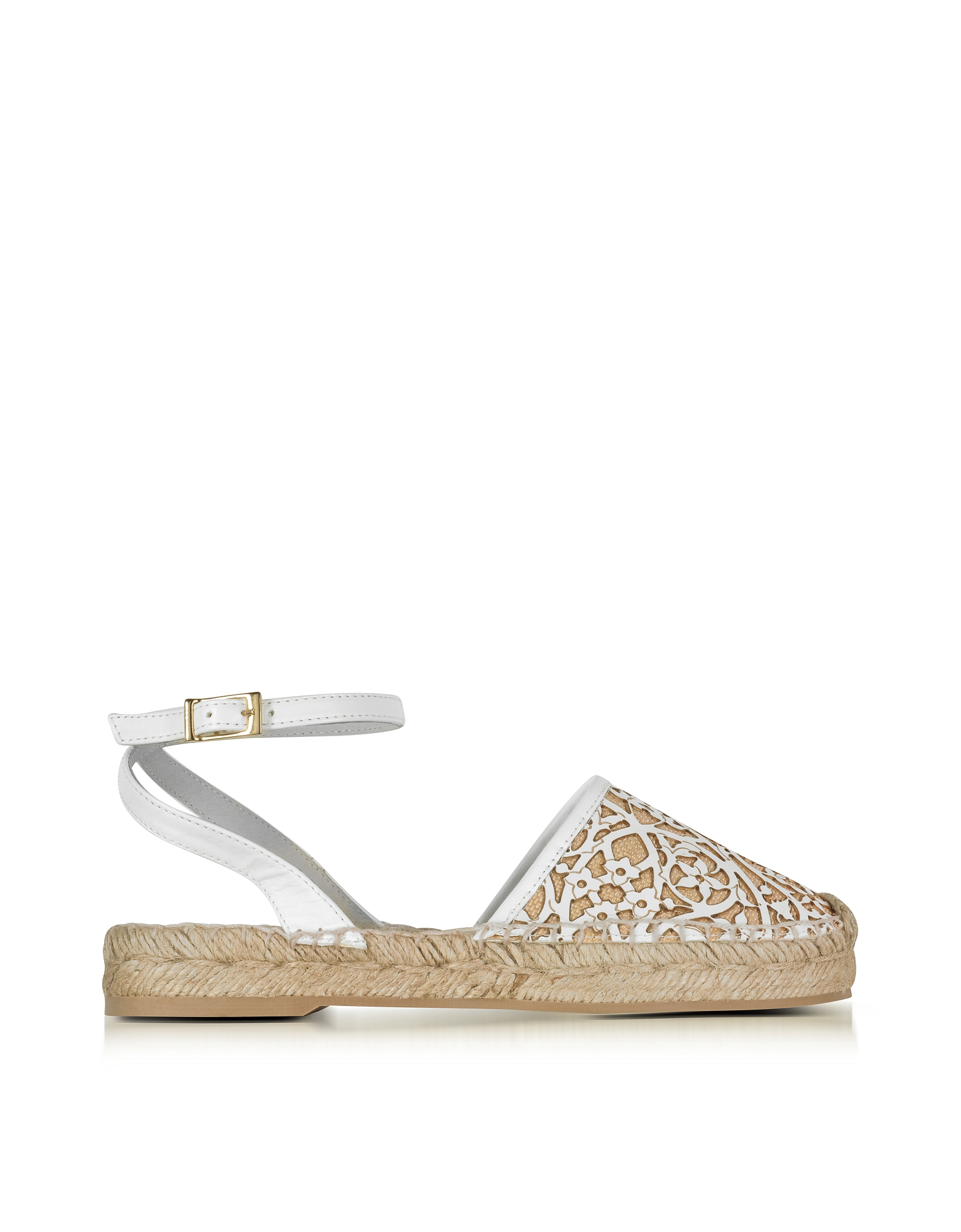 Oscar de la Renta Shoes, Tina White & Beige Lasercut Leather and Raffia Espadrilles