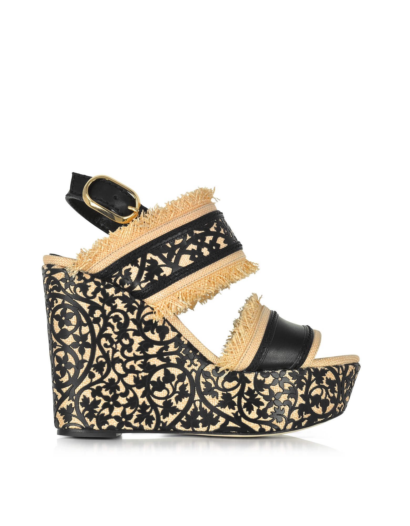 Oscar de la Renta Shoes, Talitha Black & Beige Lasercut Leather and Raffia Wedge Sandals