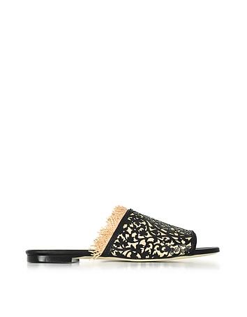 Oscar de la Renta - Charli Black & Beige Lasercut Leather and Raffia Slide Sandals