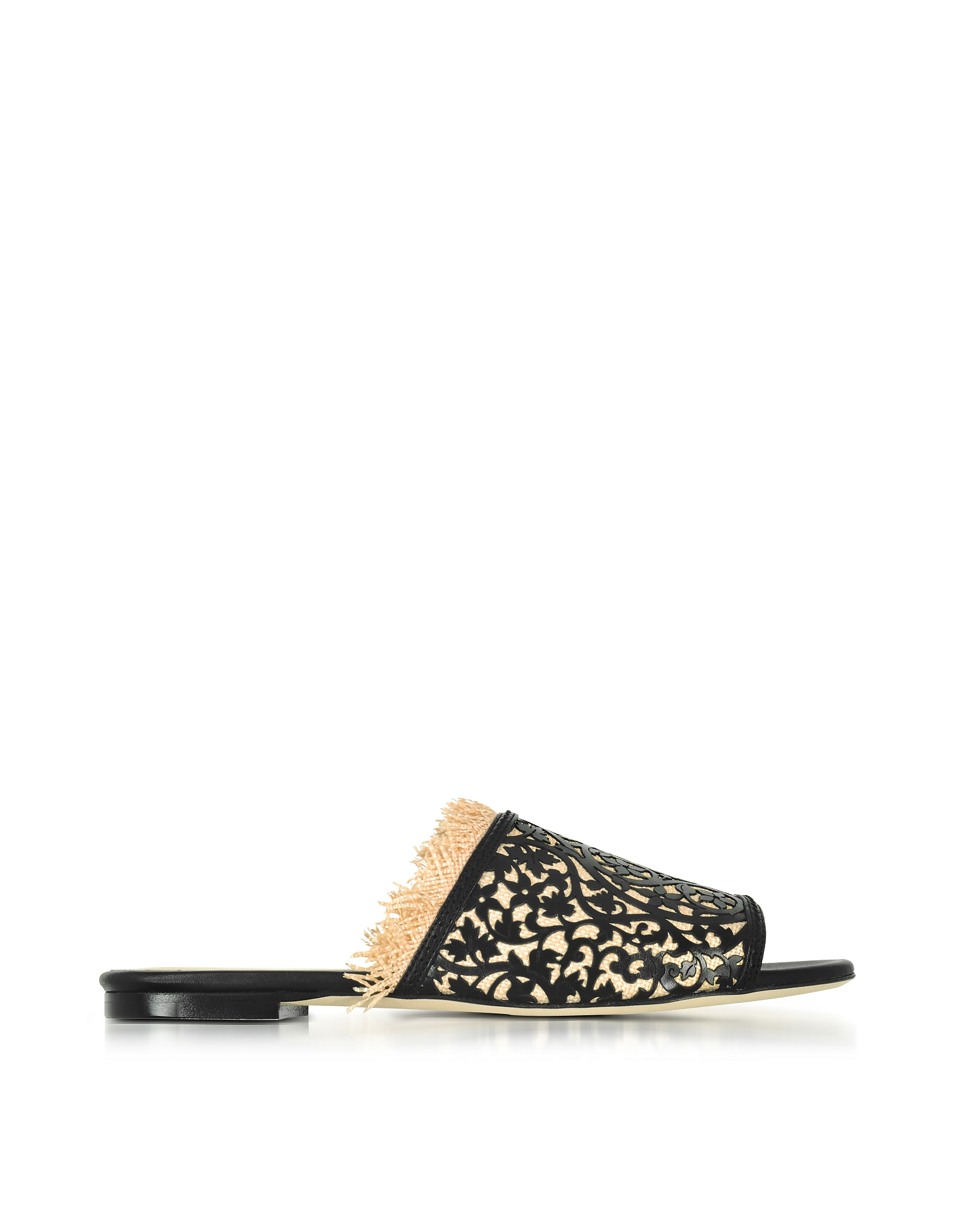 Oscar de la Renta Shoes, Charli Black & Beige Lasercut Leather and Raffia Slide Sandals