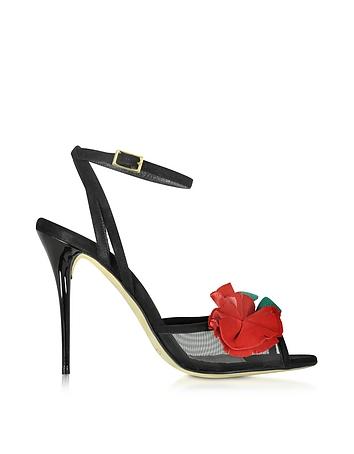 Black Carnation Suede Olive Sandal