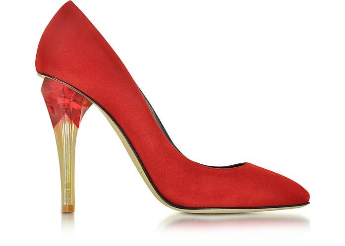 Pia Ruby Red Suede w/Lucite High Heel Pump - Oscar de la Renta