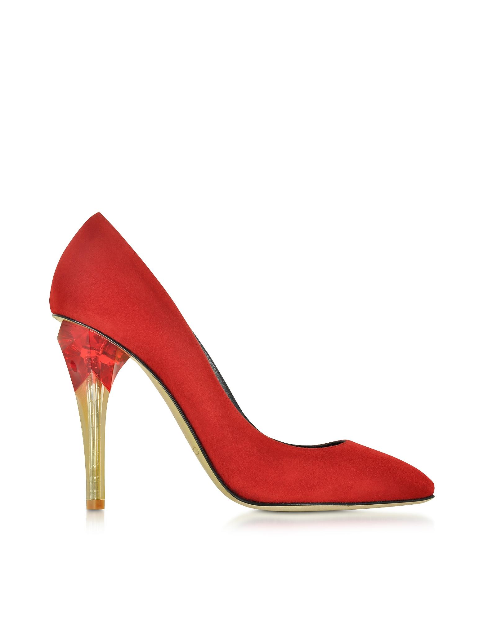 Pia - Рубиново-Красные Замшевые Туфли Лодочки с Люцитовым Высоким Каблуком