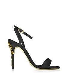 Black Suede Sandal w/Golden Crystals - Oscar de la Renta