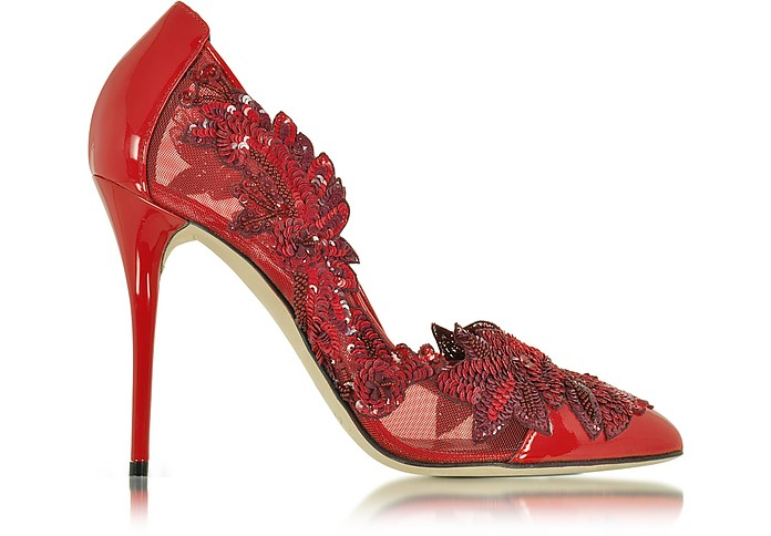 Alyssa Poppy Red Mesh and Patent Leather Pump - Oscar de la Renta