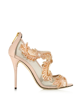 Ambria Bisque Mesh and Patent Leather High Heel Sandal