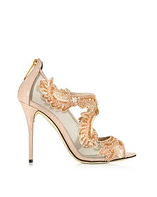 Ambria Bisque Mesh and Patent Leather High Heel Sandal - Oscar de la Renta