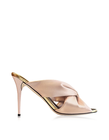 Sophia Bisque Satin & Specchio High Heel Mule