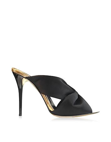 Sophia Black Satin & Specchio High Heel Mule