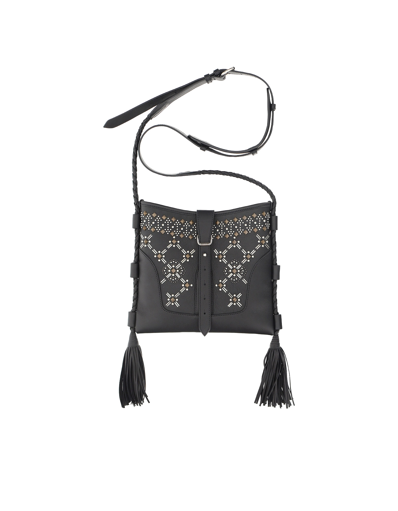 Etro Designer Handbags, Black Smooth Leather Shoulder Bag