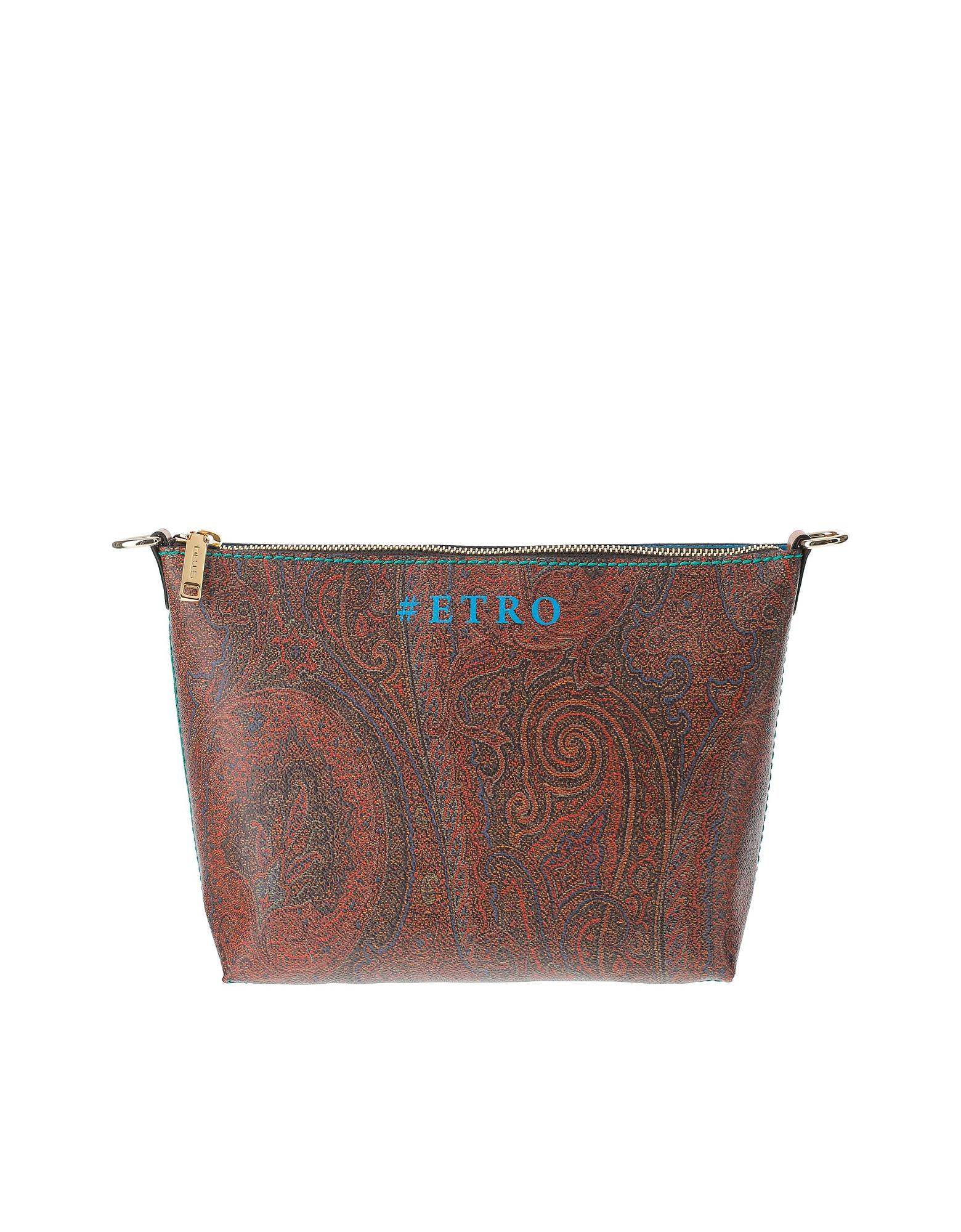 Etro Designer Handbags, Paisley Jacquard Canvas Pouch w/Shoulder Strap