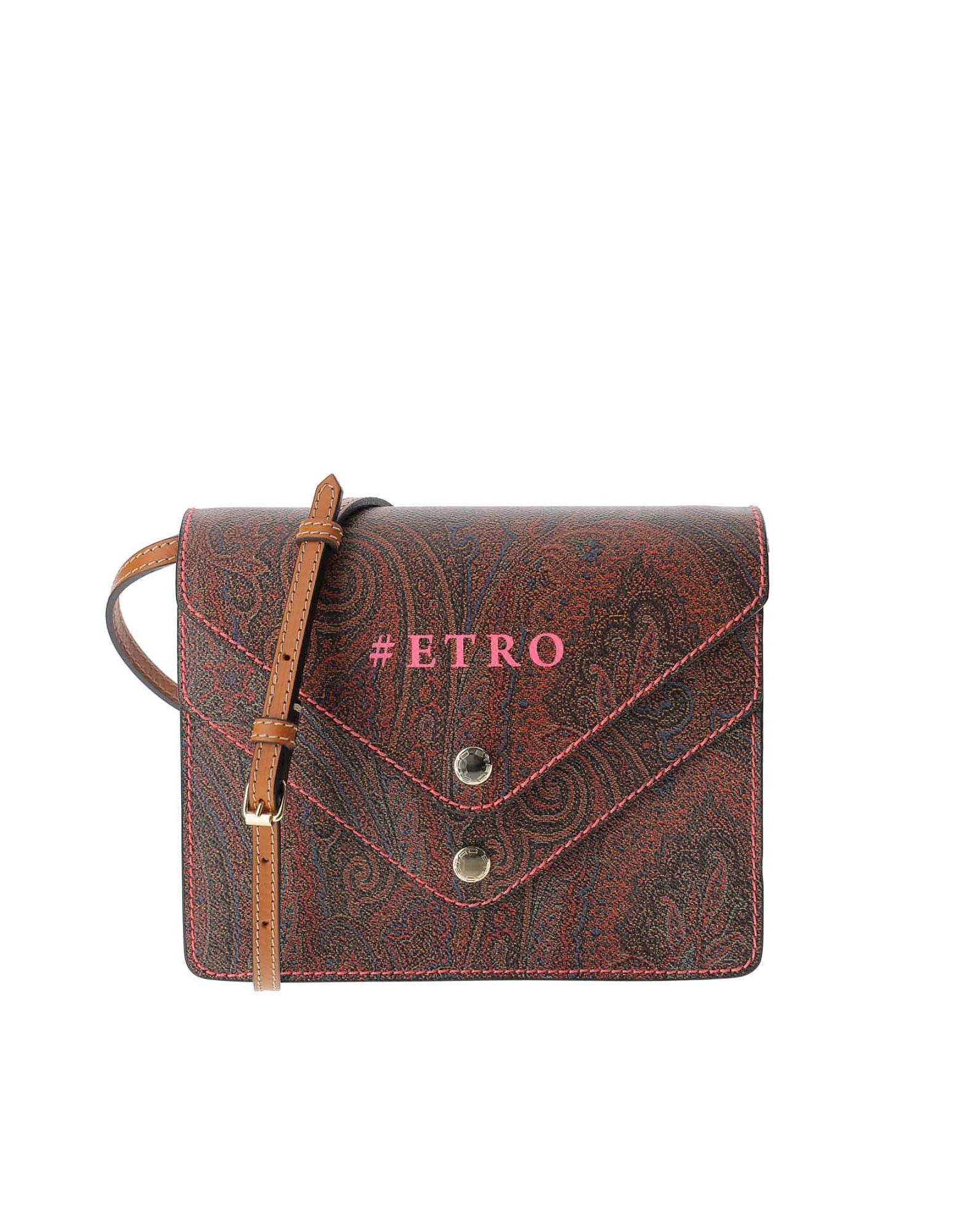 Etro Designer Handbags, Paisley Jacquard Canvas Double Flap Front Crossbody Bag