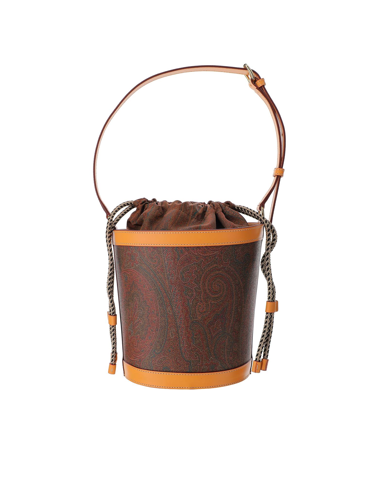 Etro Designer Handbags, Paisley Print Coated Canvas Bucket Bag